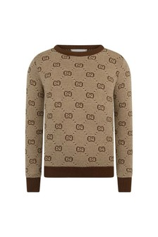 GUCCI Kids Boys Beige Wool Sweater