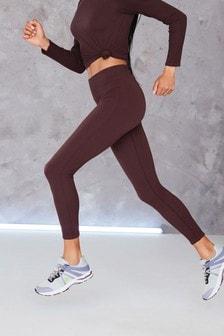 Chocolate Ribbed Sports Leggings
