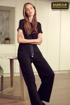 Barbour® International Black Wide Leg Chequer Jersey Jumpsuit