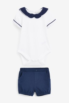 Blue/White Smart Jersey Bodysuit And Shorts Set (0mths-2yrs)