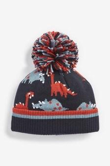 Navy/Rust Dinosaur Pom Beanie Hat (Younger)