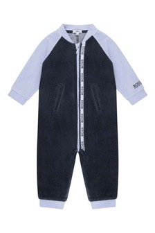 Baby Boys Navy Cotton All-In-One