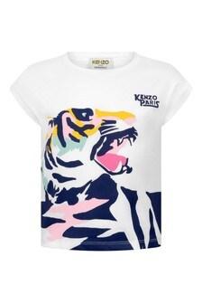 Girls White Cotton Jersey Tiger T-Shirt