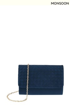 Monsoon Blue Willow Weave Satin Occasion Clutch Bag