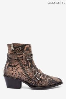 AllSaints Lior Zip Calf Snake Print Boots