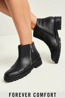 Black Forever Comfort® Side Zip Moto Boots