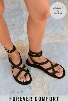 Black Forever Comfort® Strappy Toe Loop Sandals
