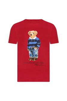 Boys Red Cotton Jersey Bear T-Shirt