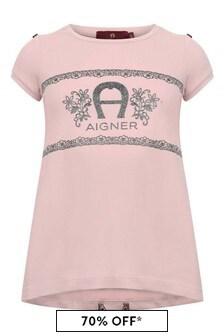 Girls Pink Cotton Jersey T-Shirt