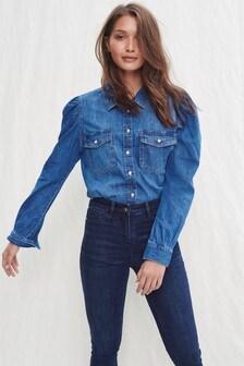 Mid Blue Puff Sleeve Denim Shirt
