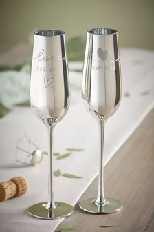 Silver Wedding Champagne Flutes