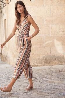 Multi Stripe Linen Blend Tie Shoulder Jumpsuit