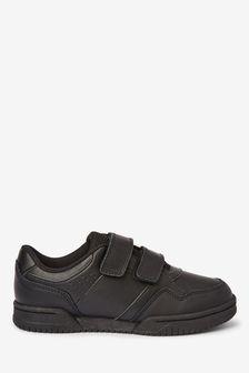 Black Leather Double Strap Shoes