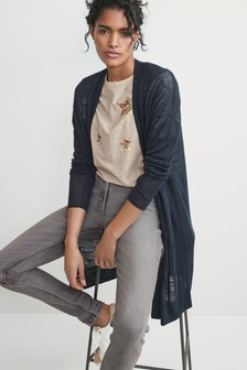 Navy Long Rib Detail Cardigan