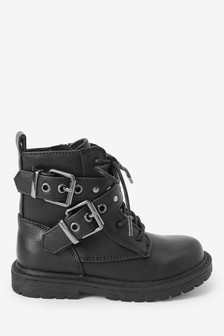 Black Buckle Chunky Lace-Up Boots (Younger)