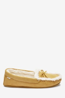 Ochre Microsuede Moccasin Slippers