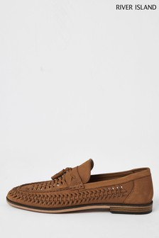 River Island Brown Medium Woven Tassel Loafers