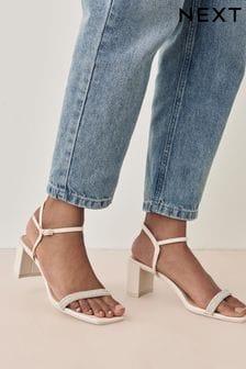Nude Diamanté Block Heel Sandals