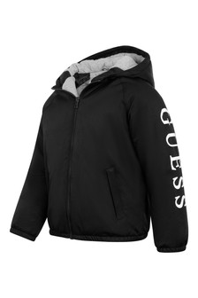 Boys Black Logo Jacket With Hood