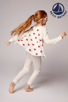 Petit Bateau White Hearts All-In-One Pyjamas With Cape
