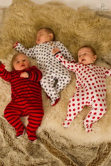 The Essential One Baby Unisex Bright Spotty Star Sleepsuits Three Pack