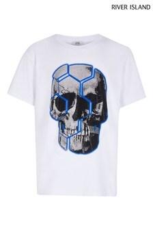 River Island White Skull Bling T-Shirt