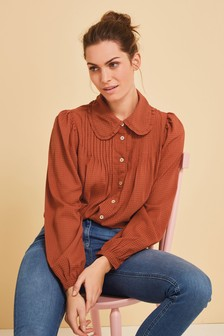Rust Ruffle Collar Shirt