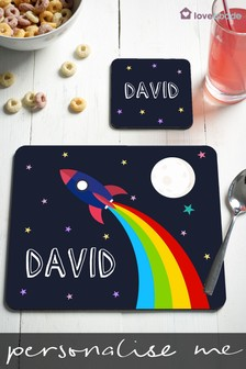 Personalised Rocket Table Mat And Coaster Set by Loveabode