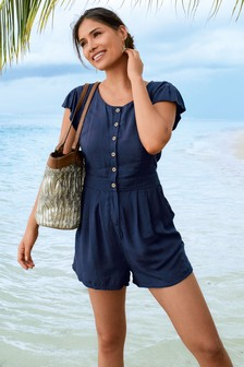 Navy Short Sleeve Playsuit