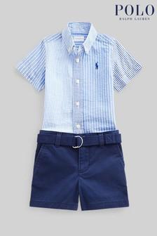 Ralph Lauren Blue Stripe Shirt And Navy Shorts Set
