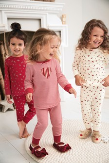 Red 3 Pack Floral/Heart Snuggle Pyjamas (9mths-8yrs)
