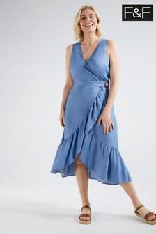 F&F Blue Denim T Midi Ruffle Dress