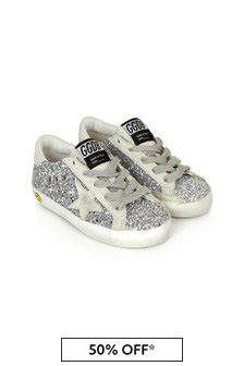 Golden Goose Kids Girls Silver Leather Trainers