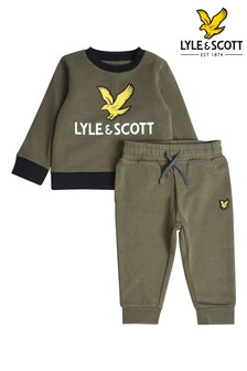 Lyle & Scott Green Eagle Logo Crew Neck Sweatshirt And Joggers Set