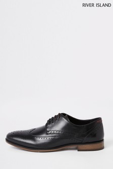 River Island Black Roger Leather Brogues
