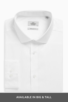 White Regular Fit Single Cuff Cotton Shirt