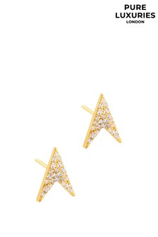 Pure Luxuries London Ines Gold Sterling Silver Arrow Earrings