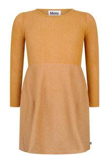 Molo Girls Autumn Leaf Cotton Blend Glittery Dress