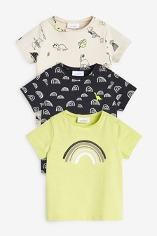 Monochrome 3 Pack Dinosaur T-Shirt With Stretch (0mths-2yrs)
