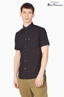 Ben Sherman Black Short Sleeve Signature Organic Oxford Shirt