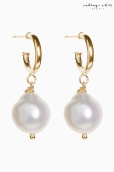 Mix/Cabbage White Pearl Drop Earrings