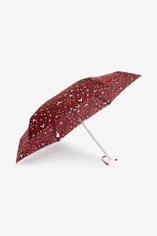 Black Hearts Printed Compact Umbrella