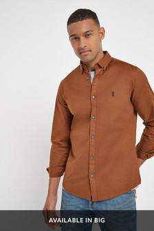 Brown Slim Fit Long Sleeve Stretch Oxford Shirt