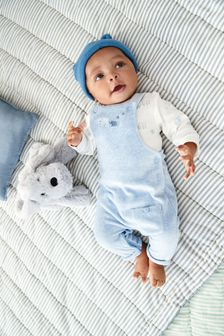 Blue Elephant Velour Dungarees And Bodysuit Set (0mths-2yrs)
