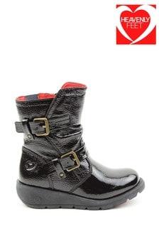 Heavenly Feet Black Junior Girls Twin Buckle Boots