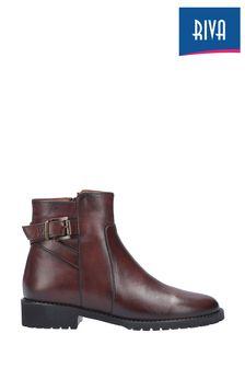 Riva Tan Mykonos Leather Buckle Zip Ankle Boots