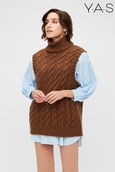 Y.A.S Rust Roll Neck Canna Knitted Vest
