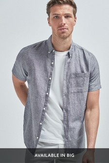 Charcoal Regular Fit Linen Blend Short Sleeve Shirt