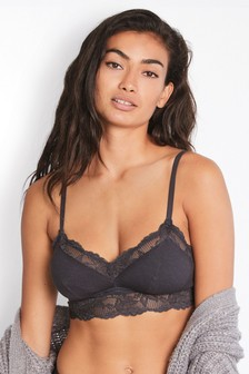 Charcoal Daisy Non Padded Wire Free Lace Trim Cotton Blend Bra
