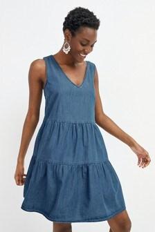 Mid Blue Tiered Dress